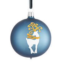 Home | Trim Shop | Ice Palace Ball Ornament with Reindeer | Lord and Taylor