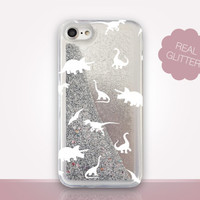 Dinosaurs Glitter Phone Case - Transparent Case - Clear Case - Transparent iPhone 7 - Clear iPhone 7 Plus - Gel Case - iPhone 6/6S