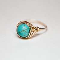Wire Wrapped Turquoise Gemstone Ring, Silver or Gold, Boho, Hippie
