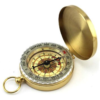 Brass Compass w Luminous Dial