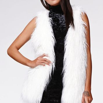 Kendall & Kylie Long Faux Fur Vest - Womens Jacket - White