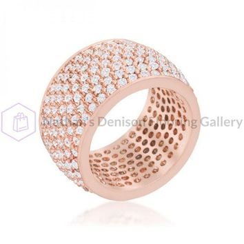 Wide Pave Cubic Zirconia Rose Gold Band Ring (size: 06) R08448A-C01-06