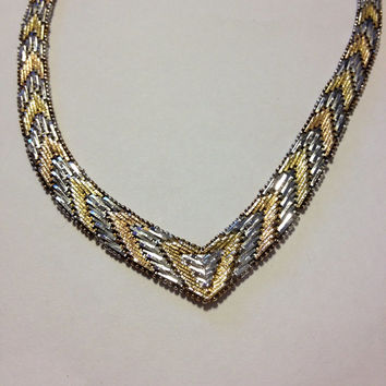 """14K Sterling Necklace Italian Yellow Rose Gold Silver 40 Grams 925 Italy 18"""" Tri-Color Tri Chain Woven Braided Herringbone Prom Bridal Gift"""