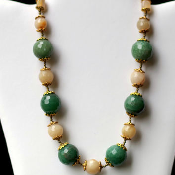 Rococo Statement Choker/ Chunky Green Peach Necklace/ Natural Stone Necklace