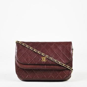 """VINTAGE Chanel Purple Quilted Lambskin Leather """"Double Flap"""" Shoulder Bag"""
