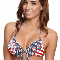 LA Hearts American Flag Fringe Triangle Top at PacSun.com