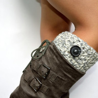 Cozy Gray Ivory Crochet Boot Cuffs
