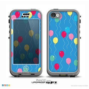 The Blue With Colorful Flying Balloons Skin for the iPhone 5c nüüd LifeProof Case