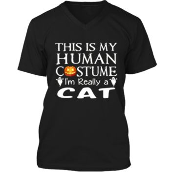 My Human Costume CAT  Gift Halloween Funny Mens Printed V-Neck T