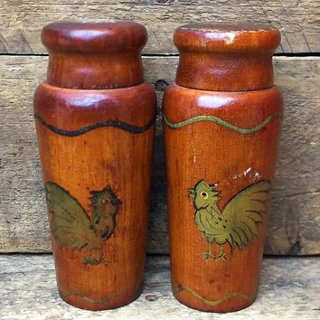 Vintage Wooden Rooster Salt and Pepper Shakers - Woodpecker Woodware Japan
