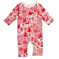 Organic Cotton Red Forest Winter Romper