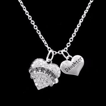 Crystal Army Daughter Heart Military Soldier Gift Charm Necklace