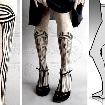 L/XL sexy Wooden Legs tattoo tights / stockings/ by tattoosocks