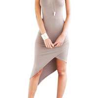 Light Gray Asymmetric Body-Con Cami Dress