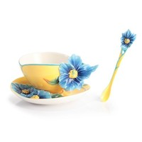 Franz Porcelain Blue Poppy Cup Saucer & Spoon Set