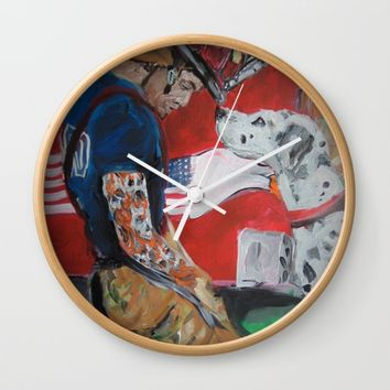 San Antonio Fire Fighter Wall Clock by Tony Silveira