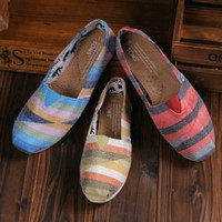 TOMS UNISEX FLAT SHOES FASHION LEISURE LOAFERS STRIPED