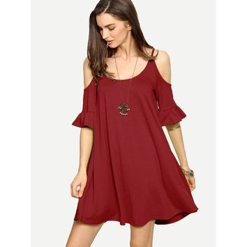 Burgundy Cold Shoulder Ruffle Shift Dress