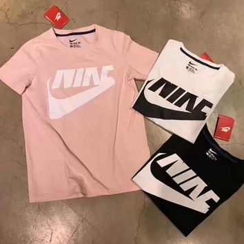 nike fashion round neck white top t shirt