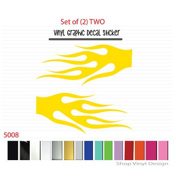 Flames Vinyl Graphic Decal Sticker  - STYLE F5008 - Set of (2)