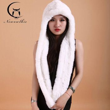 DCCKJG2 Women Winter Hat Scarf Rex Hat Knitting Wool Dense Thick White Hats Scarves hats Fashion Women Cap Scarves To Keep Warm