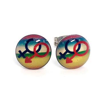 ON SALE - Gender Enamel Button Stud Earrings
