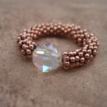 Stretch Ring with Opalescent  Swarovski Crystal and Antique Copper Daisy Shape Beads, For Her
