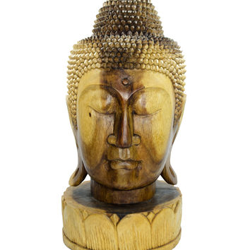 Buddha Head Sculpture on Flowered Base Hand Carved 20""