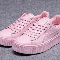 Fenty Rihanna by Puma Creepers Pink Leather Women's Shoes