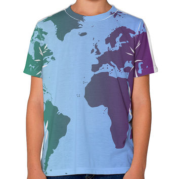 Cool World Map Design Youth T-Shirt Single Side All Over Print