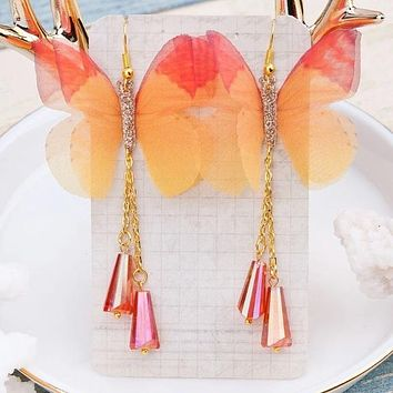 Sunset Glitter Butterfly Earrings with beaded chains