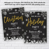 Christmas party invitation, Holiday party, Christmas party, Bridal Shower OR Baby Shower  wedding invitation snow - card 1193