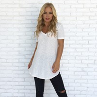 Kate Cotton Tee Top in White