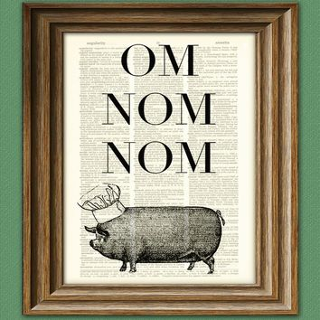 Om Nom Nom SUPER DELICIOUS Chef Pig altered art dictionary page illustration book print - Buy 3 Get 1 Free
