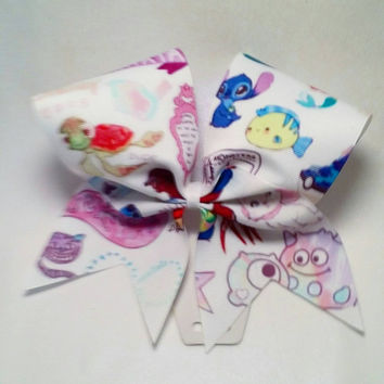 Disney Fun Cheer Bow- 3 Inch Texas Size - Cheer Party - Theme Practice - Birthday Gift - Ponytail Accessory