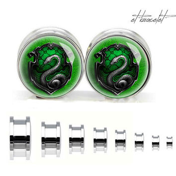 Retro Harry Potter inspider stainless steel ear gauge, silvery tunnel plugs,Stainless Steel Screw Ear Gauges,