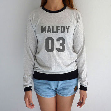 Malfoy 03 Long Sleeve Tshirt Harry Potter Sweatshirts Quidditch Draco Malfoy Sweatshirt Slytherin Sweater