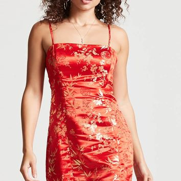 Floral Jacquard Square-Neck Dress