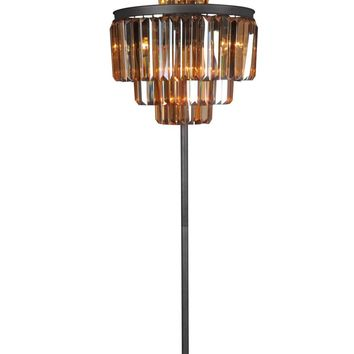 Isabel Floor Lamp Iron Chinese Amber Crystal