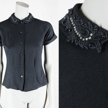 Vintage 50s Top / 1950s Black Acrylic Knit Rhinestone Collar Blouse XS