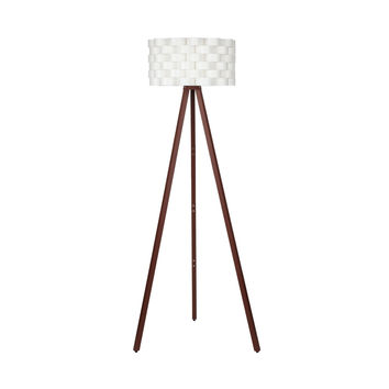 Bijou Tripod Floor Lamp - Contemporary Design for Modern Living Rooms - Soft Ambient Lighting - Made with Natural Wood - Havana Brown Wood