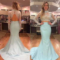 Two Piece Prom Dress Lace Bodice Long Sleeve Baby Blue Taffeta Skirt Mermaid Formal Dress APD1658