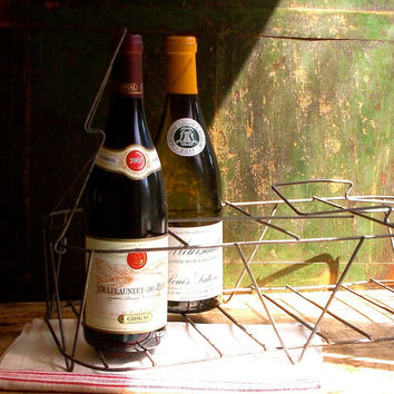 Best rustic metal baskets products on wanelo - Wire wine bottle carrier ...