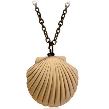 Vintage Style Antique Brass Mermaids Sea Shell Locket Necklace Sea Beach Jewelry Beach Wedding Collection Pendant Put Photos Box