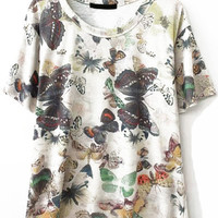 Butterfly Print Loose Fitting T-Shirt