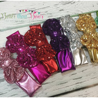Baby Girls Messy Bow Headband, Metallic Headband, Sequin Headband, Infant Headbands, Toddler Headband, Hair Bows, Girls Headband