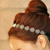 Lovely Metallic Lady Hollow Rose Flower Elastic Hair Band Headband
