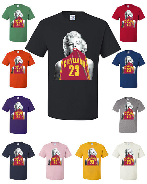 new concept 25a1b a0694 Marilyn Monroe In Cleveland Cavaliers LeBron James #23 Jersey T-Shirt NBA  Fan 405