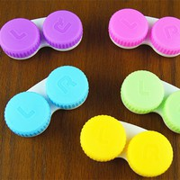 Random Mixed 4 pcs lot Glasses Cosmetic Contact Lenses Box Contact Lens Case for Eyes travel Kit Holder Container