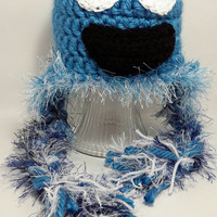 Cookie Monster inspired hat. Made by Bead Gs on ETSY. 6 to 12 months. chunky hat.